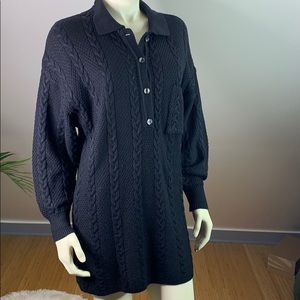 VTG Ted Lapidus France Black Cable Sweater Dress